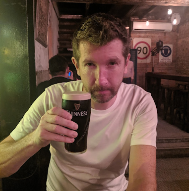 Andrew and a pint of guinness
