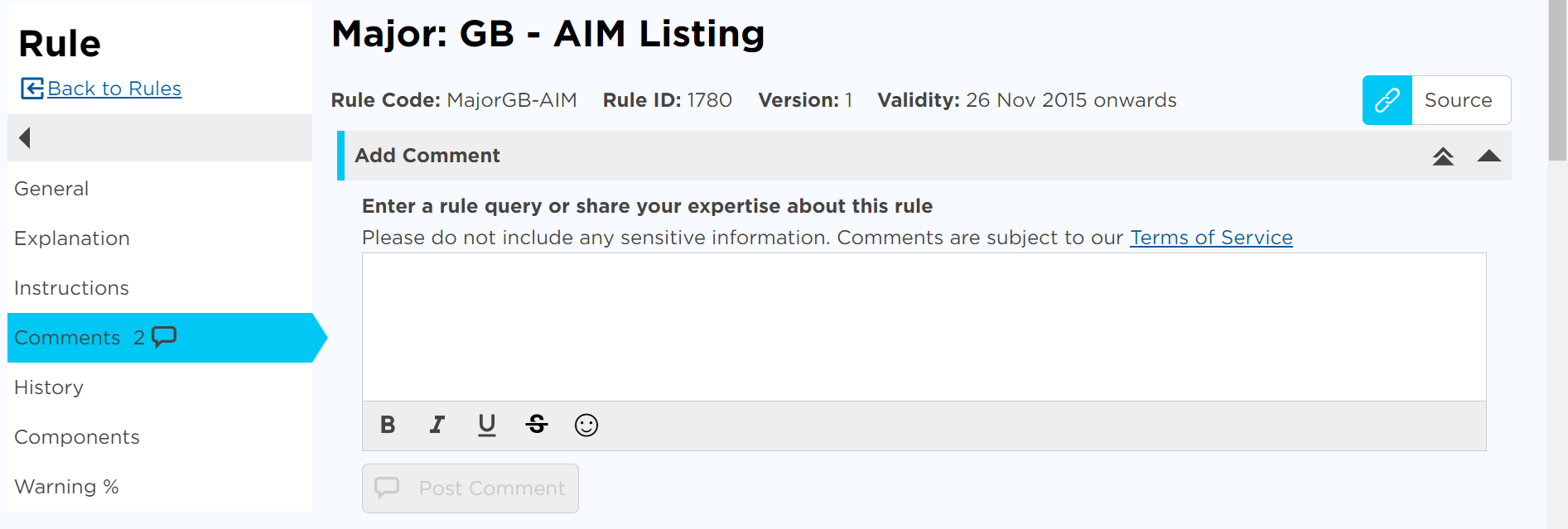 Screenshot of our Rule Commentary functionality