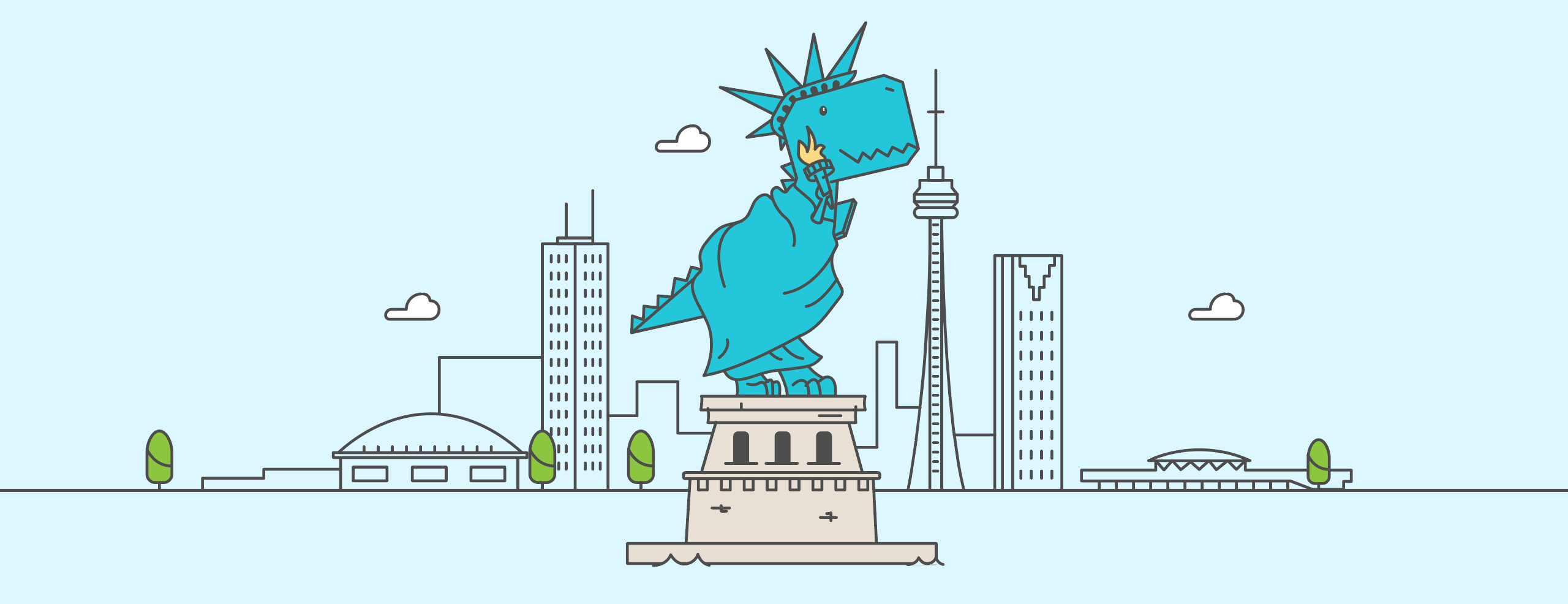 Our mascot, Trevor, with the NY skyline
